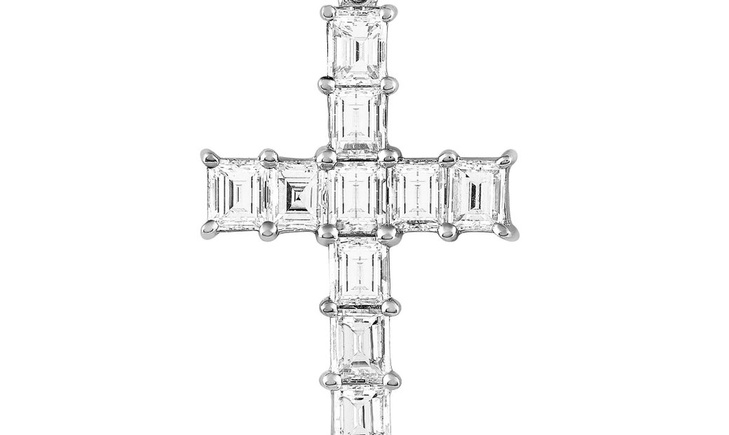 LB Exclusive LB Exclusive 18K White Gold 2.00 ct Diamond Cross Pendant