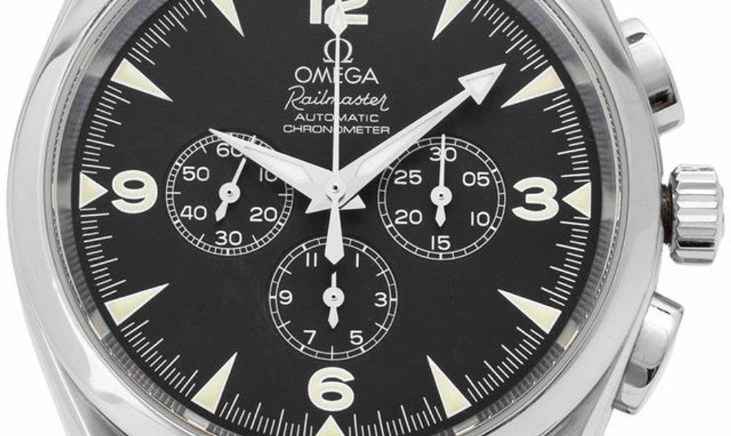 Omega Railmaster 2812.52.37, Arabic Numerals, 2011, Good, Case material Steel, Bracelet