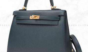 Hermes Kelly 25 Vert Fonce 60 Epsom Leather
