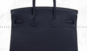 Hermes Kelly 25 Bleu Nuit 2Z Togo Leather