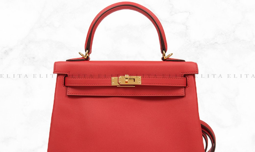 Hermes Kelly 25 Rouge Tomate S5 / Red Swift Leather