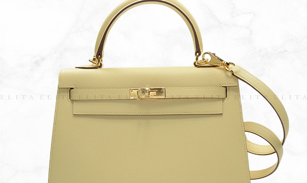 Hermes Kelly 25 Jaune Poussin Yellow 1Z Epsom Leather