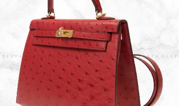 Hermes Kelly 25 Rouge Vif 53 / Red Ostrich Leather