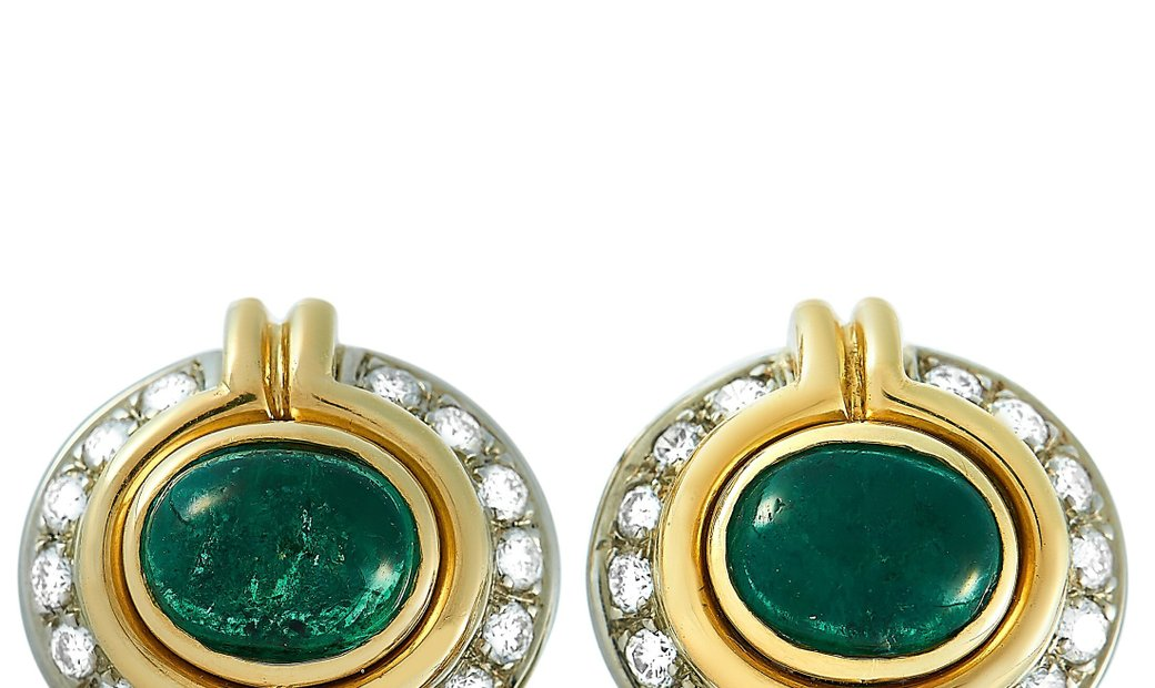 Harry Winston Harry Winston 18K Yellow Gold 0.40 ct Diamond and Emerald Stud Earrings