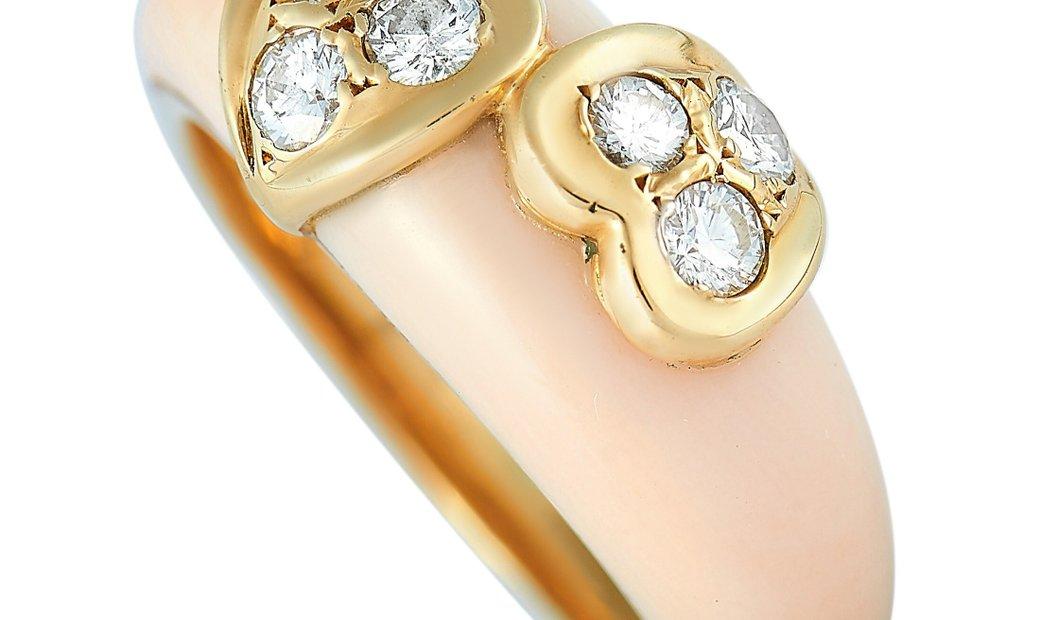 Van Cleef & Arpels Van Cleef & Arpels Vintage 18K Yellow Gold 0.30 ct Diamond and Coral Ring