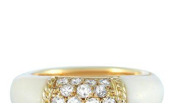 Van Cleef & Arpels Van Cleef & Arpels 18K Yellow Gold Diamond and White Coral Philippine Ring