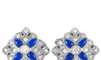 LB Exclusive LB Exclusive Platinum 1.15 ct Diamond and Lapis Lazuli Cufflinks