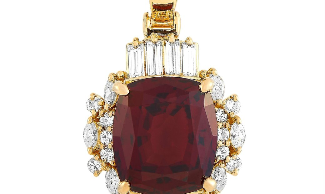LB Exclusive LB Exclusive 18K Yellow Gold 1.29 ct Diamond and Rhodolite Garnet Pendant