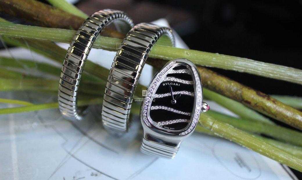 Bvlgari Serpenti Tubogas Black Dial Steel Diamond Ladies Watch 102440