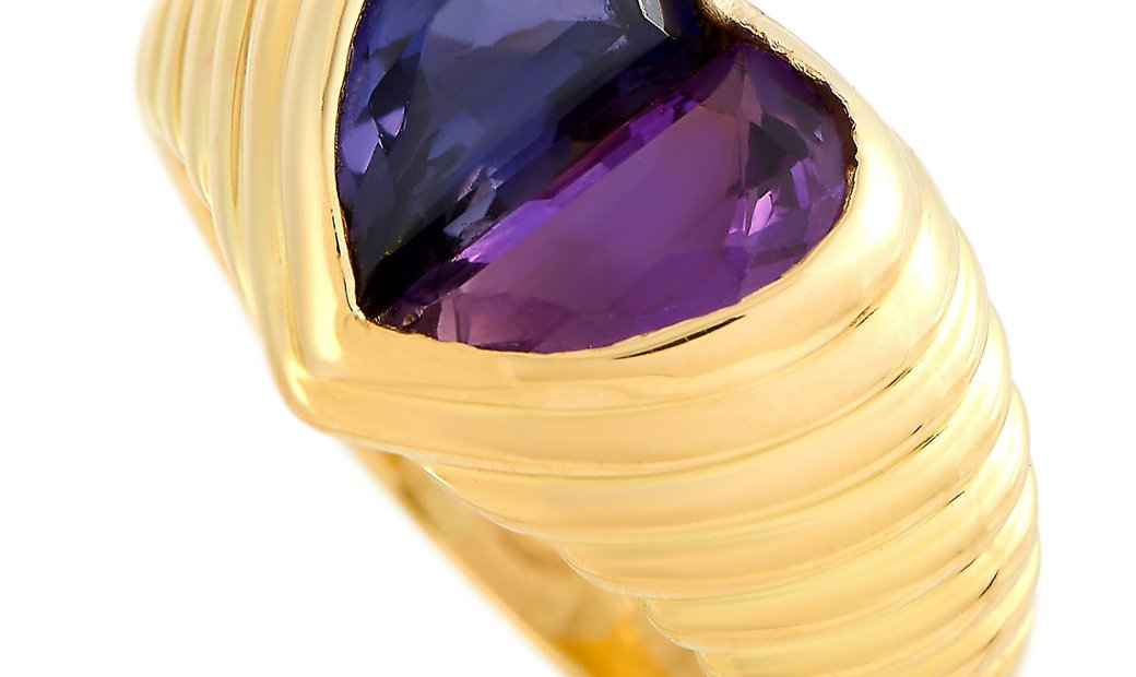 Bvlgari Bvlgari Doppio 18K Yellow Gold Amethyst and Iolite Heart Ring