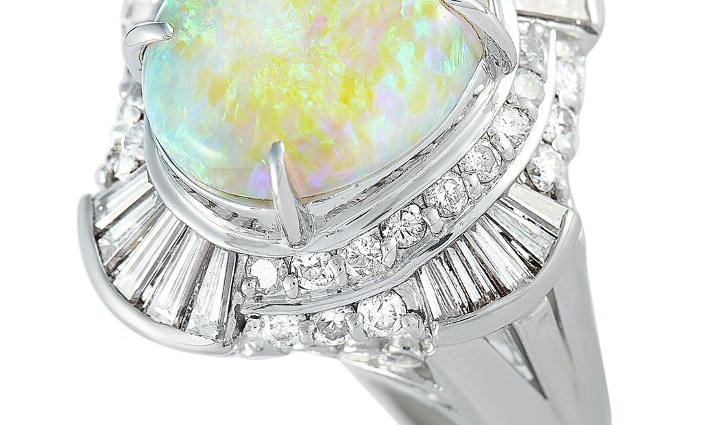 LB Exclusive LB Exclusive Platinum 1.35 ct Diamond and Opal Ring