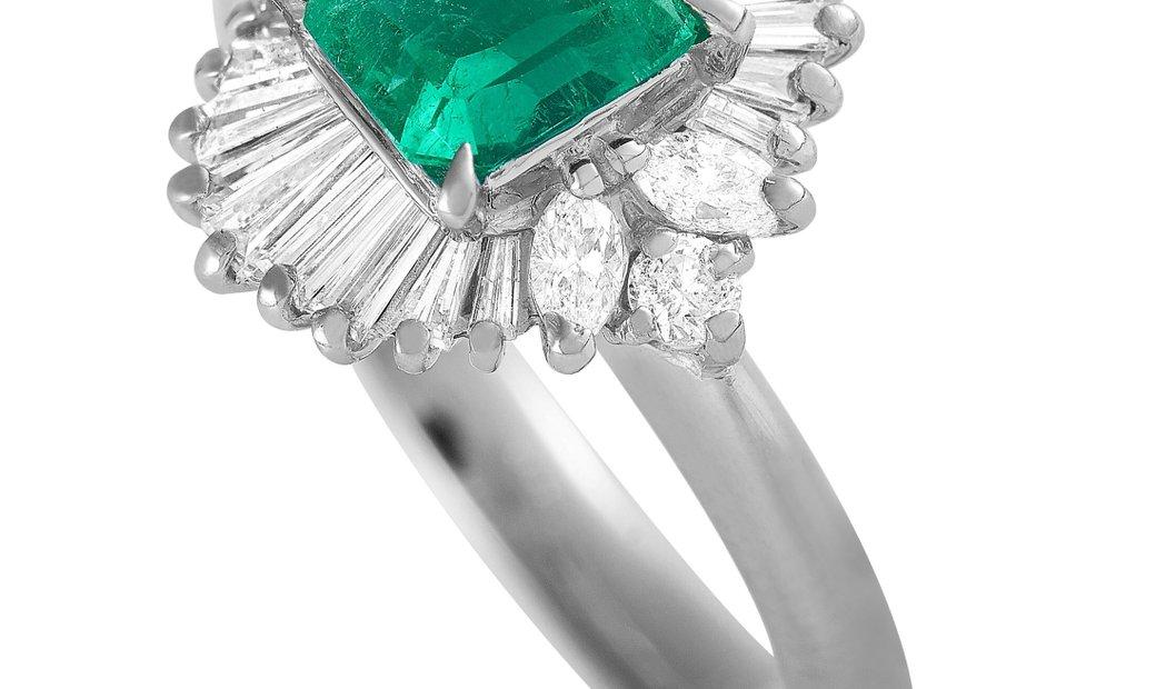LB Exclusive LB Exclusive Platinum 0.55 ct Diamond and Emerald Ring