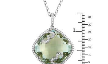LB Exclusive LB Exclusive 18K White Gold 0.61 ct Diamond and Green Amethyst Pendant Necklace