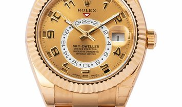 Rolex Sky-Dweller 326938, Arabic Numerals, 2013, Very Good, Case material Yellow Gold,