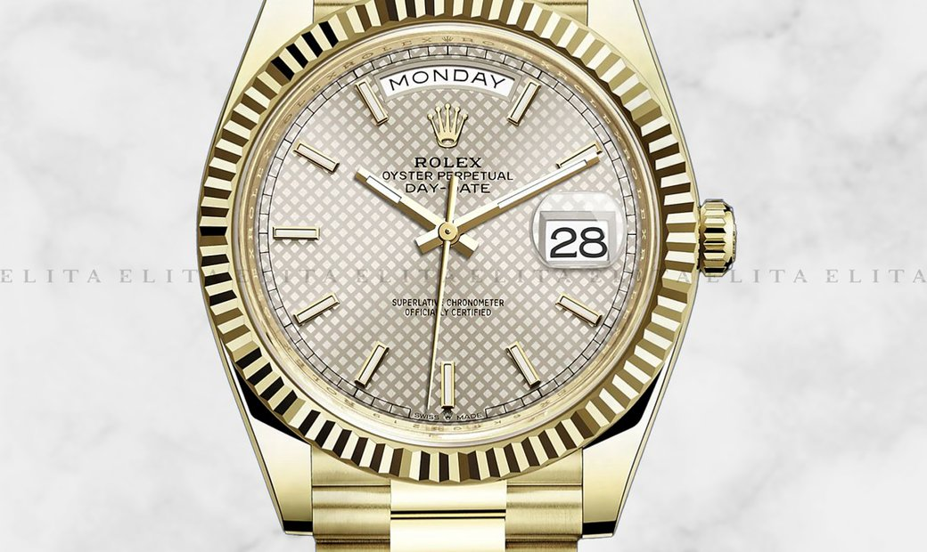 Rolex Day-Date 40 228238-0008 18 Ct Yellow Gold Silver Diagonal Motif Dial