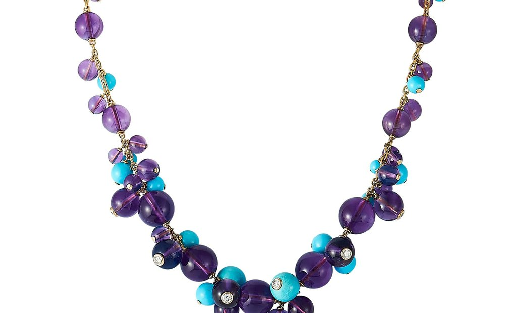 Cartier Cartier Delices 18K Yellow Gold 0.70 ct Diamond, Turquoise and Amethyst Necklace