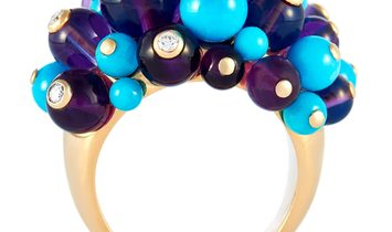 Cartier Cartier Delices 18K Yellow Gold ˜0.65 ct Diamond, Turquoise and Amethyst Ring