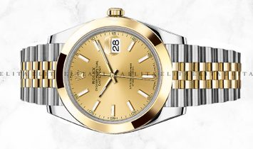 Rolex Datejust 41 126303-0010 Oystersteel and Yellow Gold Champagne Dial Jubilee Bracelet
