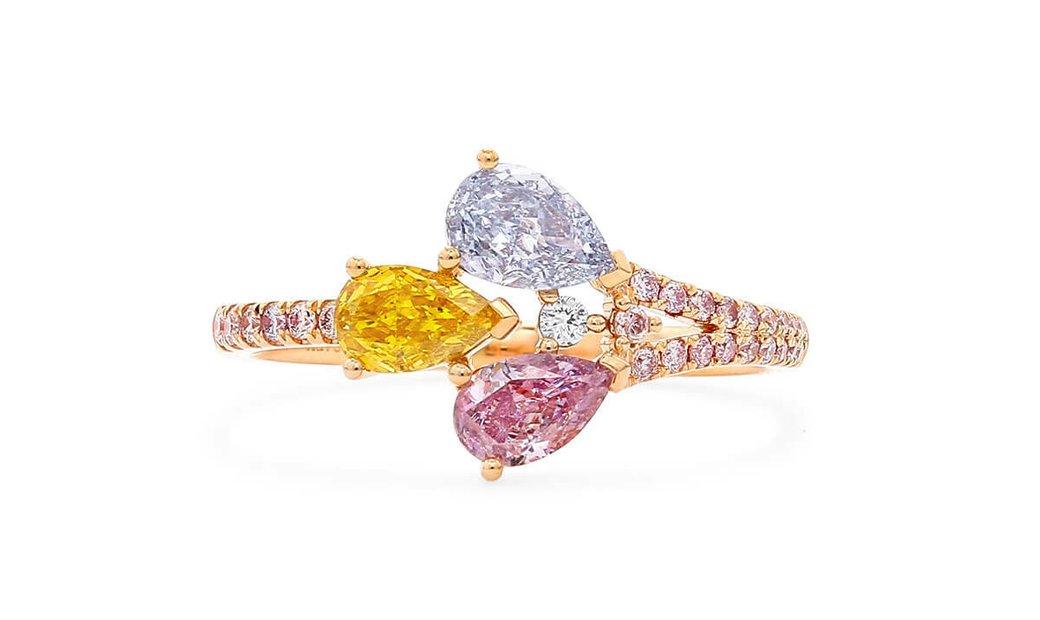 Fancy Light Grayish Blue Diamond Ring, 0.81 Ct. (0.96 Ct. TW), Pear shape, GIA Certified, JCRF054558