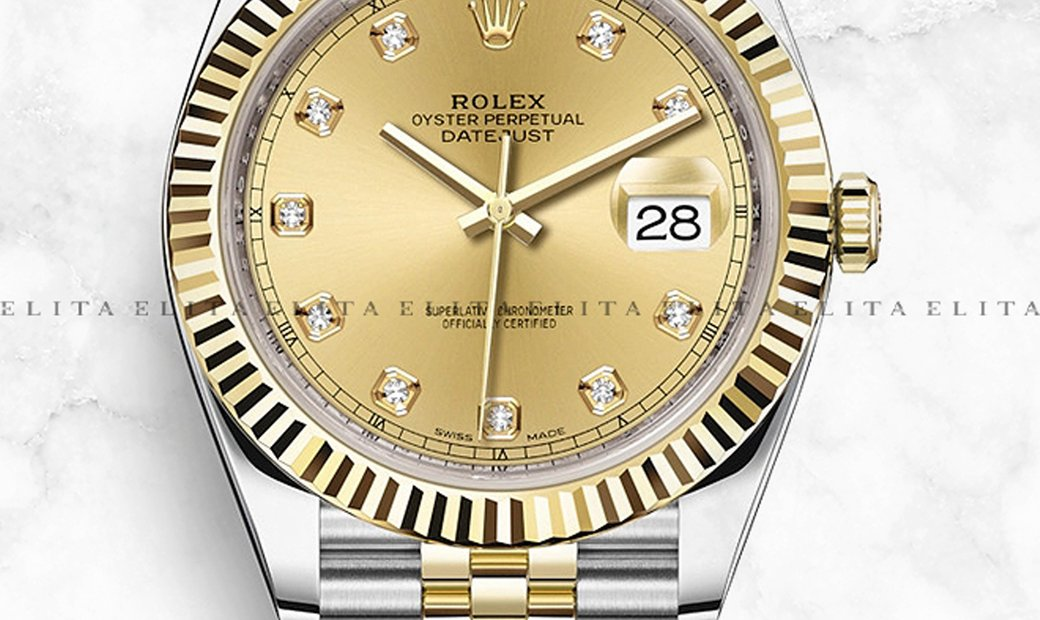 Rolex Datejust 41 126303-0012 Oystersteel and Yellow Gold Diamond Set Champagne Dial