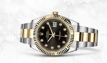 Rolex Datejust 41 126303-0005 Oystersteel and Yellow Gold Diamond Set Black Dial