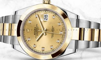 Rolex Datejust 41 126303-0011 Oystersteel and Yellow Gold Diamond Set Champagne Dial