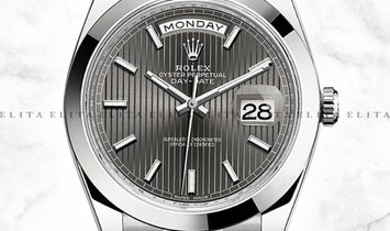 Rolex Day-Date 40 228206-0011 Platinum Dark Rhodium Stripe Dial