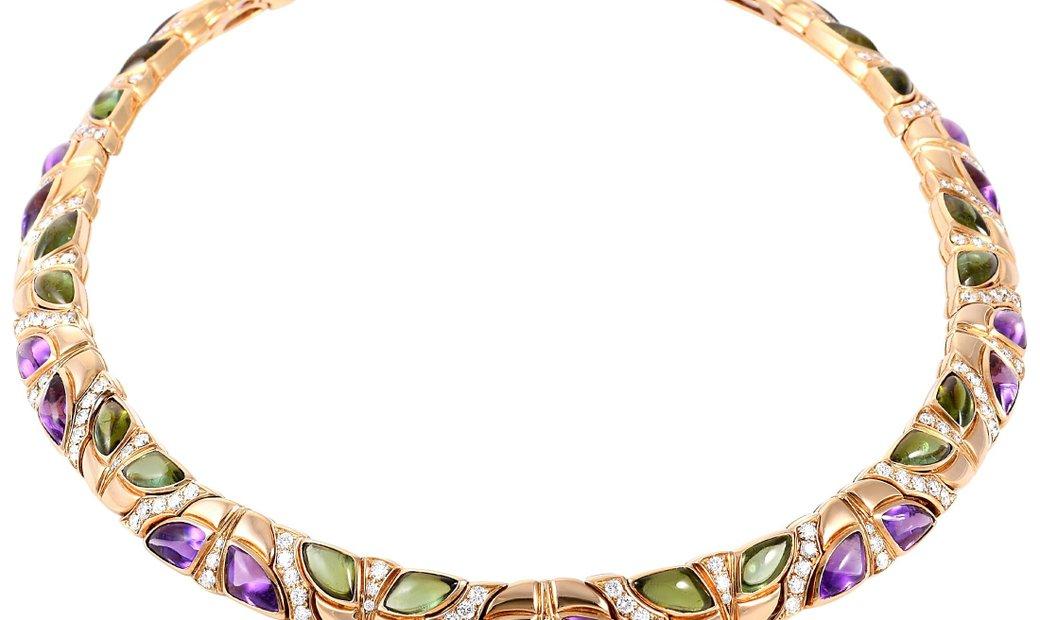 Bvlgari Bvlgari 18K Yellow Gold Diamond, Amethyst and Peridot Necklace