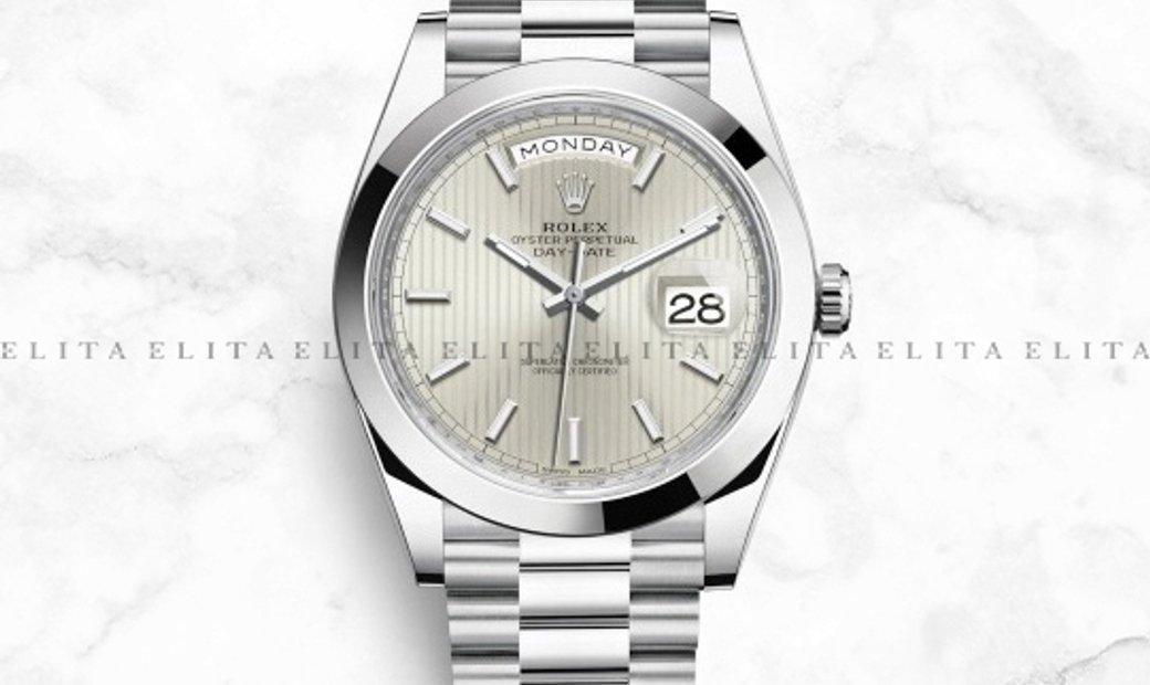 Rolex Day-Date 40 228206-0034 Platinum Silver Stripe Dial