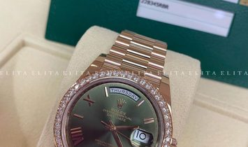 Rolex Day-Date 40 228345RBR-0011 18 CT Everose Gold Olive Green Dial, Diamond Set Bezel