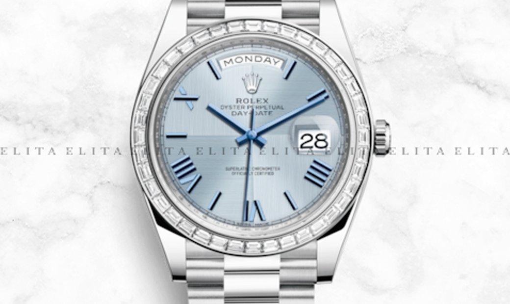 Rolex Day-Date 40 228396TBR-0004 Platinum Ice Blue Quadrant Dial, Diamond Bezel