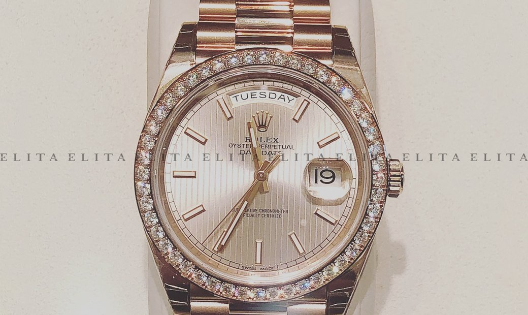Rolex Day-Date 40 228345RBR-0010 18 ct Everose Gold Sundust Striped Dial and Diamond Bezel