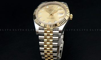 Rolex Datejust 41 126333-0012 Oystersteel and Yellow Gold Diamond Set Champagne Dial