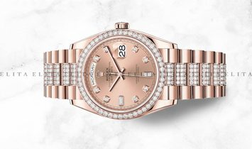 Rolex Day-Date 36 128345RBR-0020 Everose 18 CT Gold Diamond Set Rose Coloured Dial