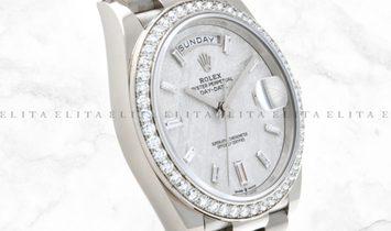 Rolex Day-Date 40 228349RBR-0040 White Gold Diamond Set Meterorite Dial, Diamond Bezel