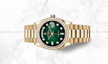 Rolex Day-Date 36 128348RBR-0035 Yellow Gold, Diamond Set Green Ombre Dial, Diamond Bezel