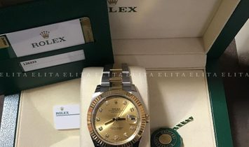 Rolex Datejust 41 126333-0011 Oystersteel and Yellow Gold, Diamond Set Champagne Dial