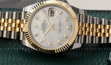 Rolex Datejust 41 126333-0018 Oystersteel and Yellow Gold Diamond Set White Mother Of Pearl Dial