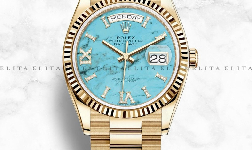 Rolex Day-Date 36 128238-0071 18 Ct Yellow Gold Turquoise Dial, Diamond Hour Markers