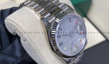 Rolex Day-Date 36 128239-0027 White Gold Diamond Paved Dial with Sapphire Hour Markers