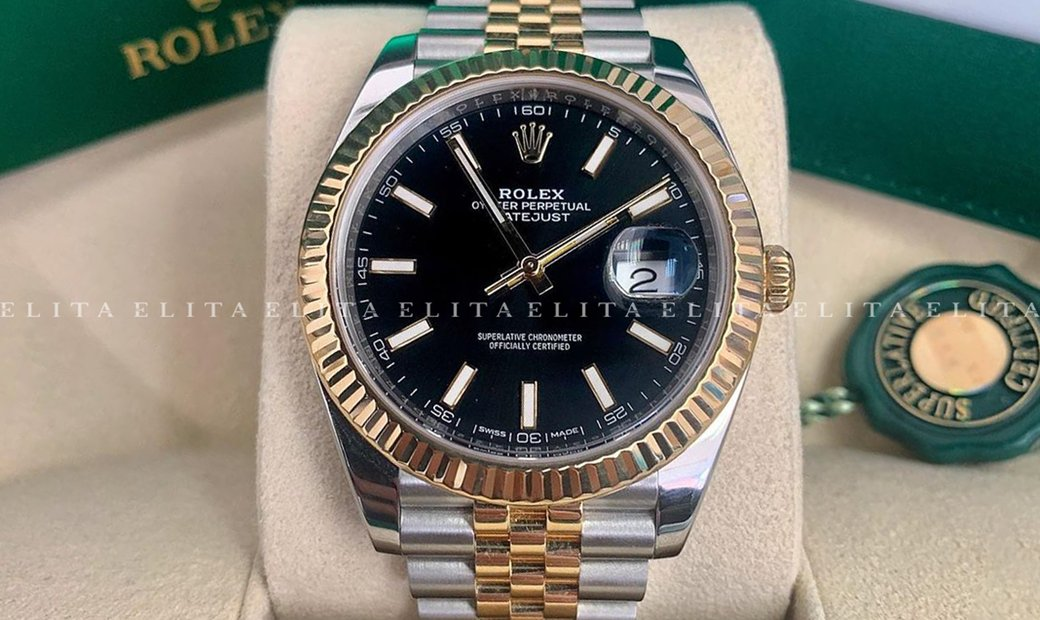 Rolex Datejust 41 126333-0014 Oystersteel and Yellow Gold Black Dial Jubilee Bracelet