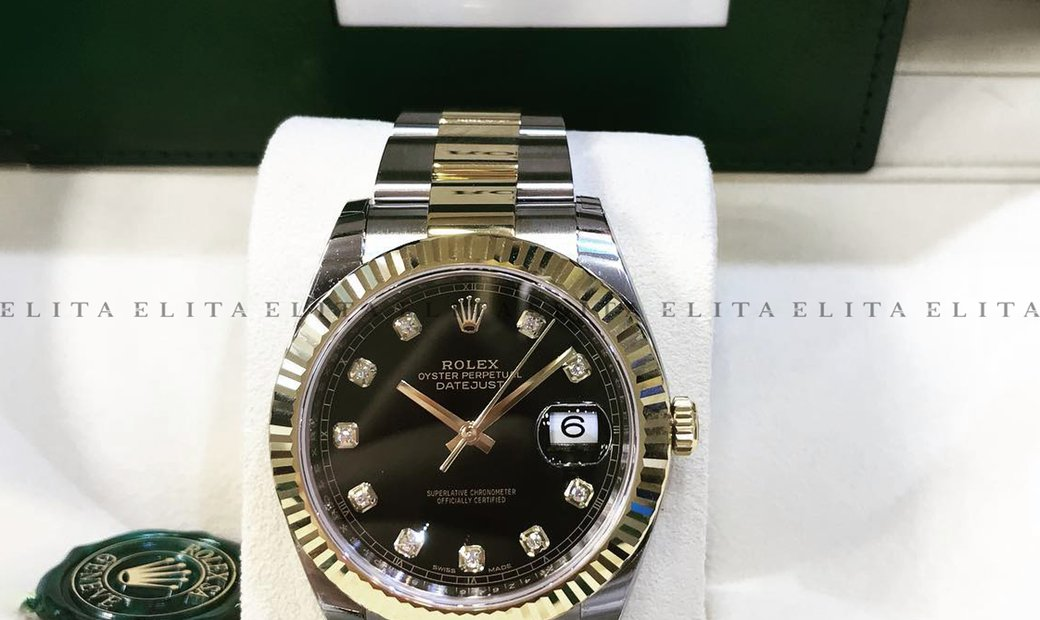 Rolex Datejust 41 126333-0005 Oystersteel and Yellow Gold Diamond Set Black Dial Oyster Bracelet