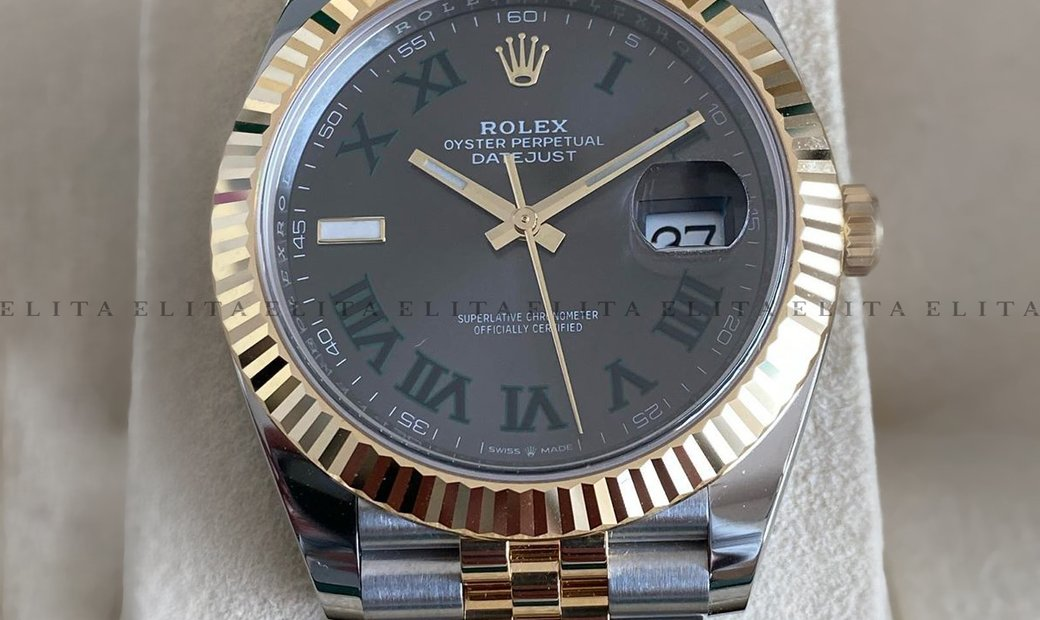 Rolex Datejust 41 126333-0020 Oystersteel and Yellow Gold Slate Dial Roman Numerals Jubilee Bracelet