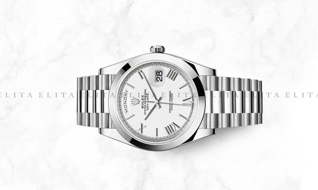 Rolex Day-Date 40 228206-0028 Platinum White Dial Roman Numerals President Bracelet