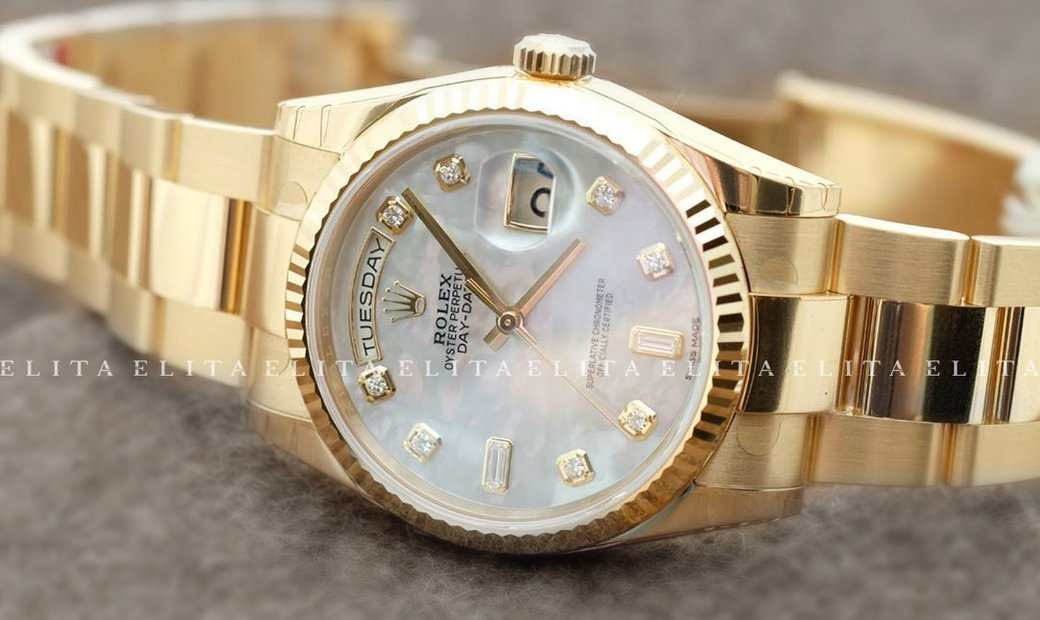 Rolex Day-Date 36 128238-0011 Yellow Gold Diamond Set White Mother of Pearl Dial
