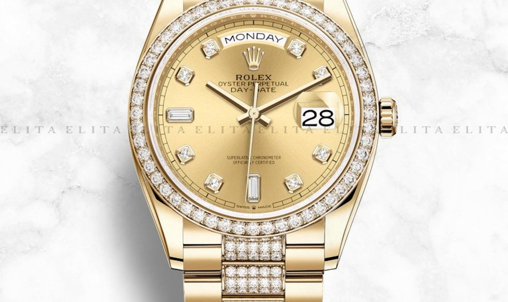 Rolex Day-Date 36 128348RBR-0010 Yellow Gold, Diamond Set Champagne Dial, Diamond Bezel and Bracelet
