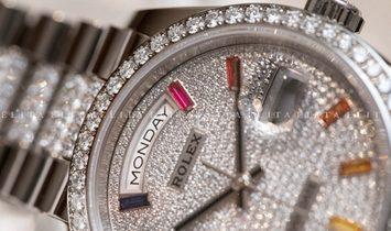 Rolex Day-Date 36 128349RBR-0012 18 Ct White Gold Diamond-Paved Dial, Diamond Set Bezel and Bracelet
