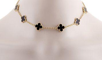 Van Cleef & Arpels Van Cleef & Arpels Vintage Alhambra 18K Yellow Gold 10 Motif Onyx Necklace