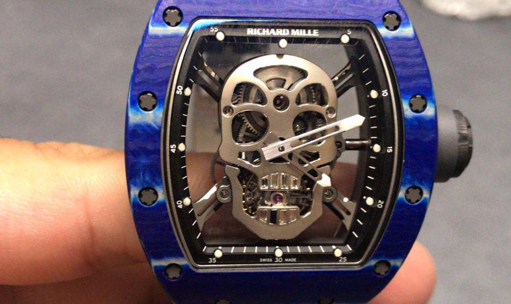 Richard Mille [2018 LIKE NEW] RM 52-01 Skull Blue Quartz TPT Tourbillon