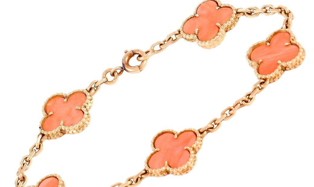 Van Cleef & Arpels Van Cleef & Arpels Vintage Alhambra 18K Yellow Gold Coral Bracelet